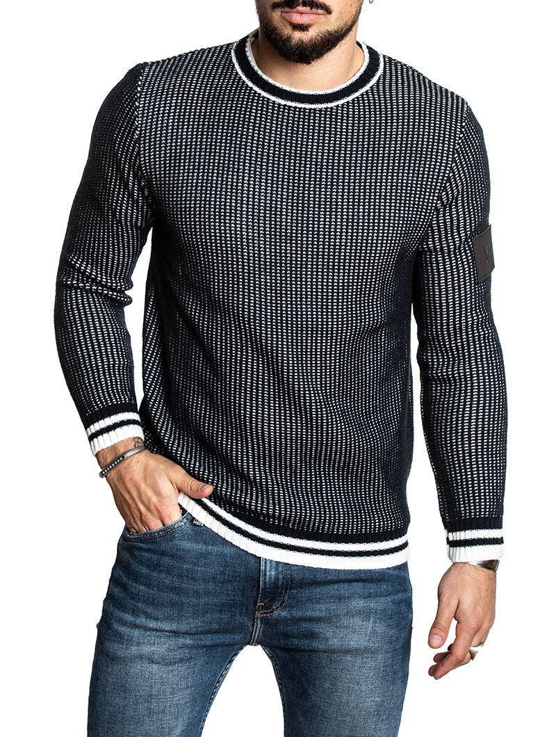 CREWNECK SWEATER IN BLUE AND WHITE