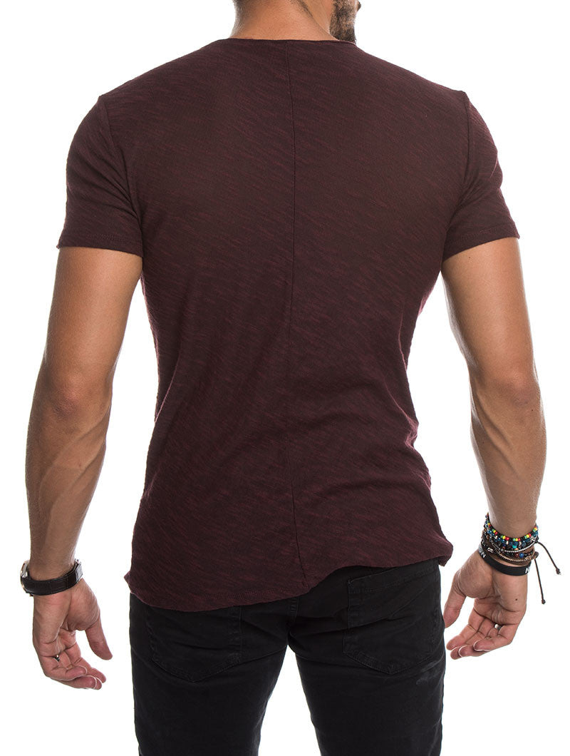 MEN'S CLOTHING | MUSCLE FIT KNITTED T-SHIRT IN BURGUNDY MARL | NOHOW