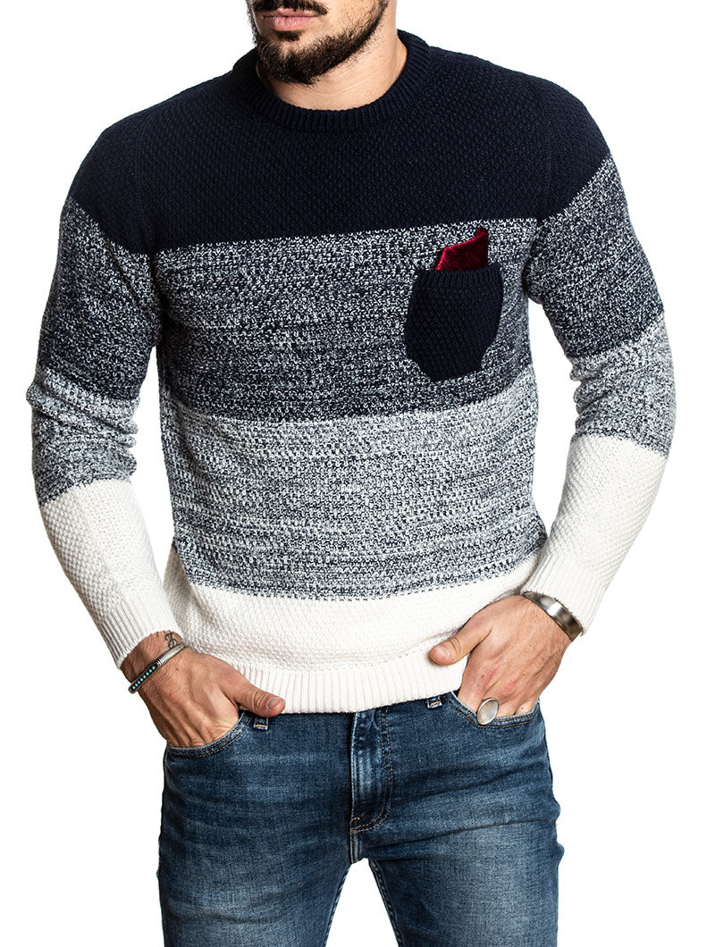 COLOR BLOCK SWEATER IN BLUE AND WHITE