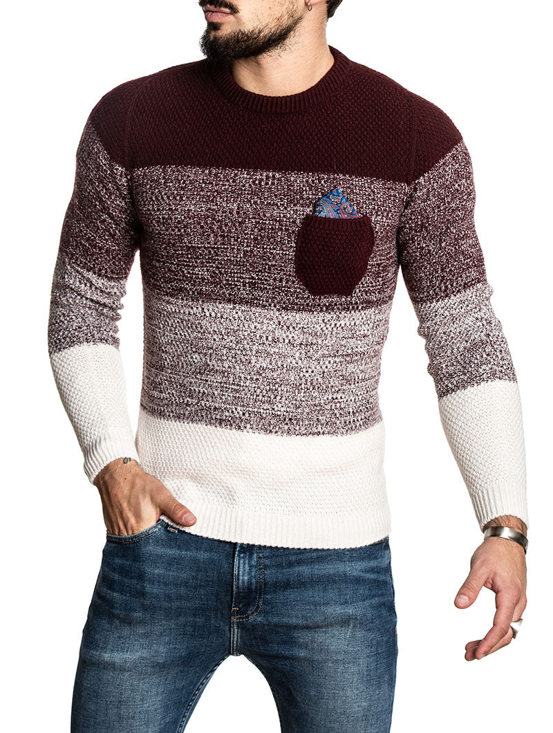 COLOR BLOCK SWEATER IN BORDEAUX AND WHITE