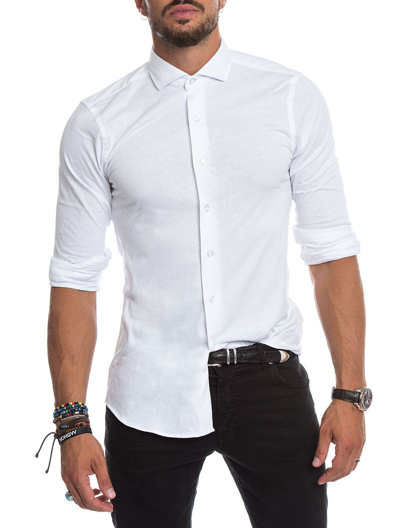 MEN'S CLOTHING | CASUAL JERSEY SHIRT IN WHITE | LONG SLEEVES | COTTON | CUTAWAY COLLAR | MADE IN ITALY | NOHOW STREETWEAR | NOHOW