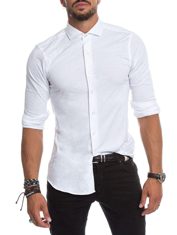 38a87872fe9 CASUAL JERSEY SHIRT IN WHITE
