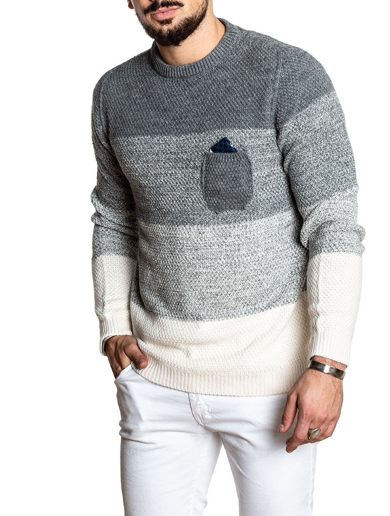 COLOR BLOCK SWEATER IN GREY AND WHITE