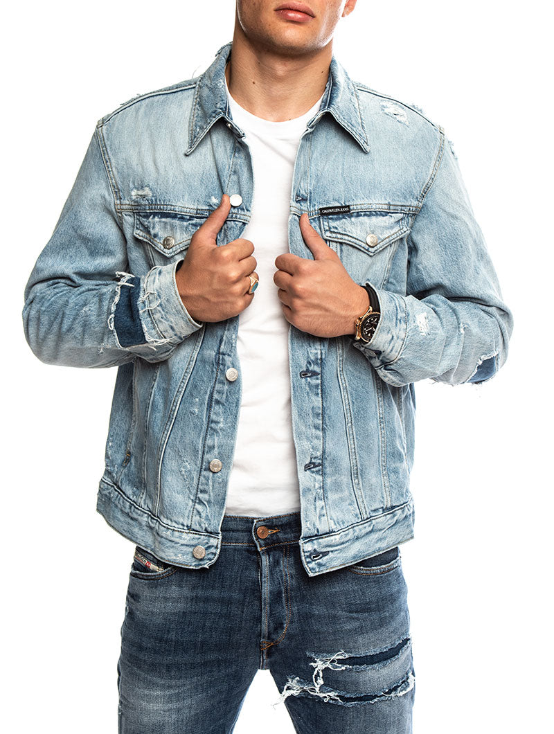 FOUNDATION SLIM DENIM JACKET IN CABALLERO BLUE DSTR