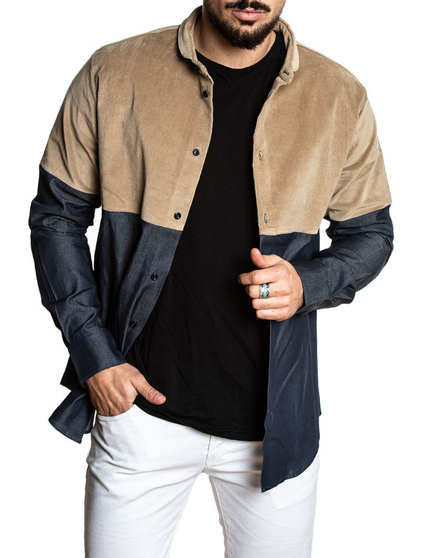 fc13c6d2b6 CASUAL SHIRT IN DENIM AND CAMEL
