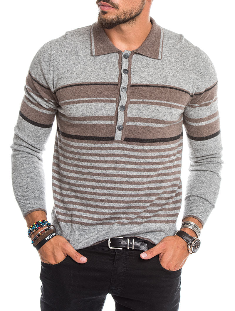 STRIPED SWEATER IN PALE GREY