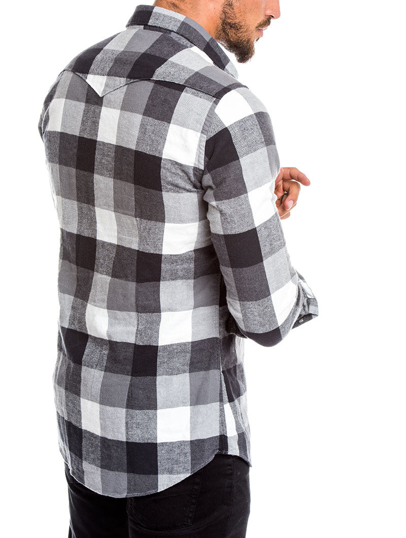 MEN'S CLOTHING | BLACK AND WHITE LUMBERJACK SHIRT | CHECKED SHIRT | BRUSHED FLANNEL | SPREAD COLLAR | PRESS STUD PLACKET | PEARLESCENT SNAPS | COTTON | SKINNY FIT | NOHOW