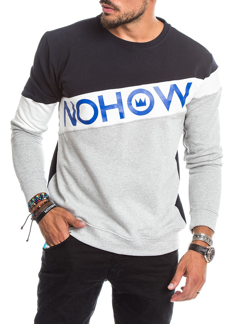 MEN'S CLOTHING | COLOR BLOCK STRIPE SWEATSHIRT IN NAVY AND GREY | COTTON | NOHOW