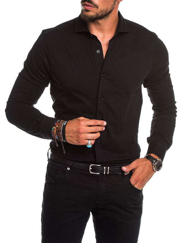 31595fc8ac6 CASUAL JERSEY SHIRT IN BLACK
