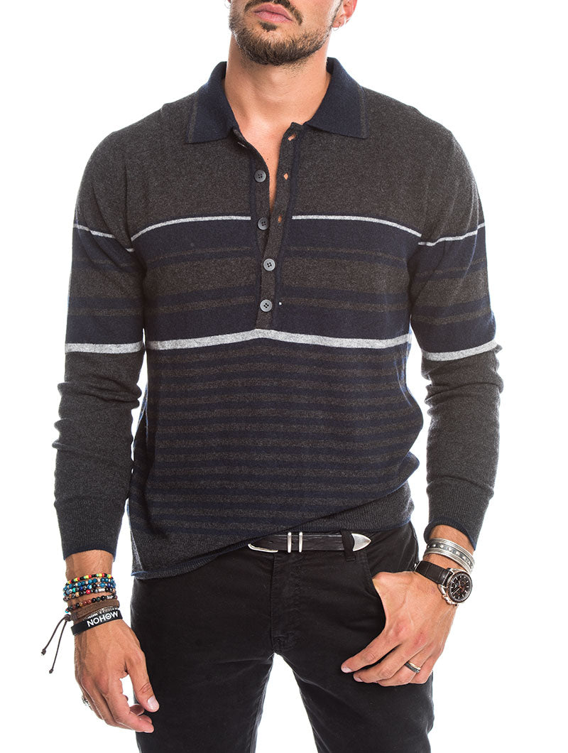 STRIPED SWEATER IN ANTHRACITE