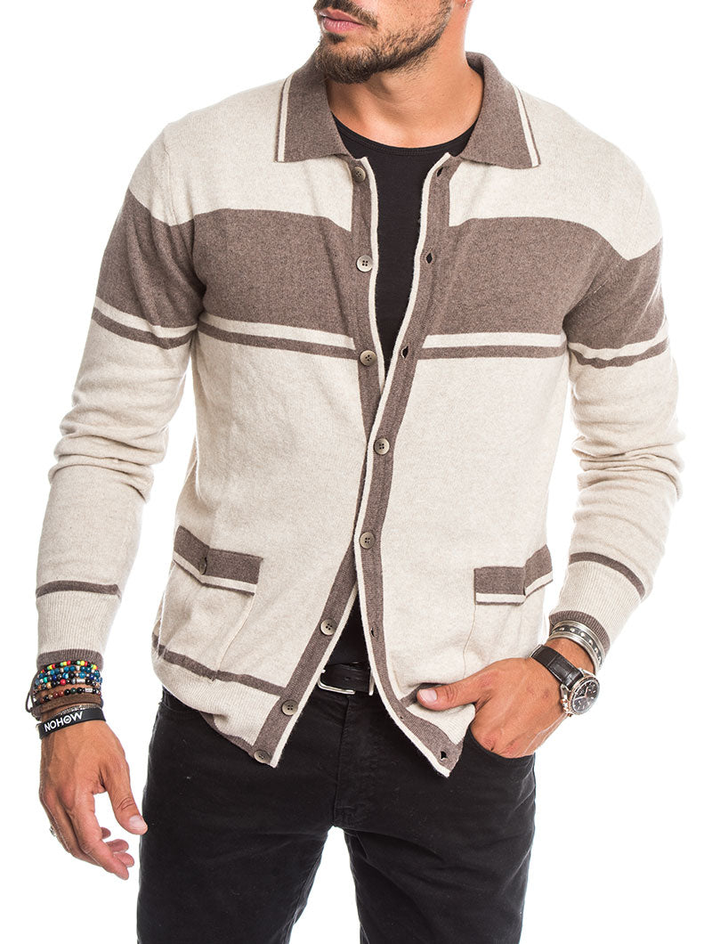 MEN'S CLOTHING | TONAL BLOCK STRIPE CARDIGAN IN BEIGE | MUSCLE FIT | NOHOW STREET COUTURE | NOHOW