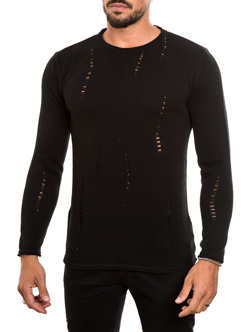 MEN'S CLOTHING | DISTRESSED COTTON SWEATER IN BLACK | MUSCLE FIT | NOHOW STREET COUTURE