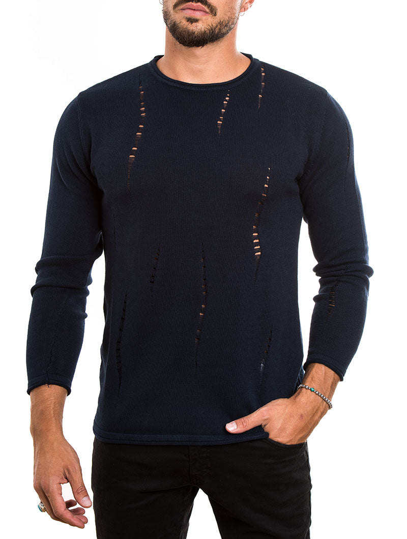 MEN'S CLOTHING | DISTRESSED COTTON SWEATER IN NAVY | MUSCLE FIT | NOHOW STREET COUTURE