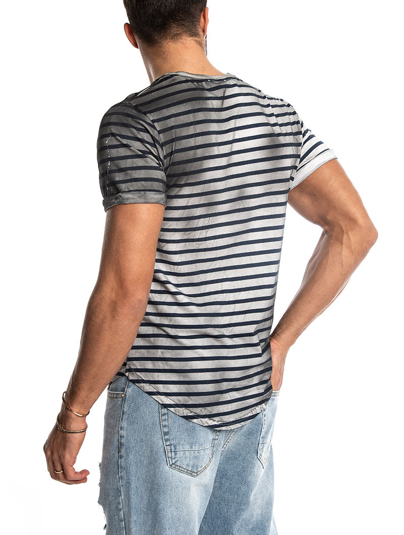 TREY AGED STRIPED T-SHIRT IN BLUE AND WHITE