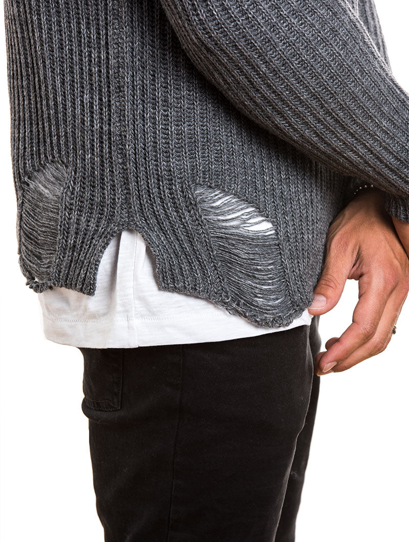 MEN'S CLOTHING | DISTRESSED RIBBED SWEATER IN GREY | MUSCLE FIT | NOHOW STREET COUTURE