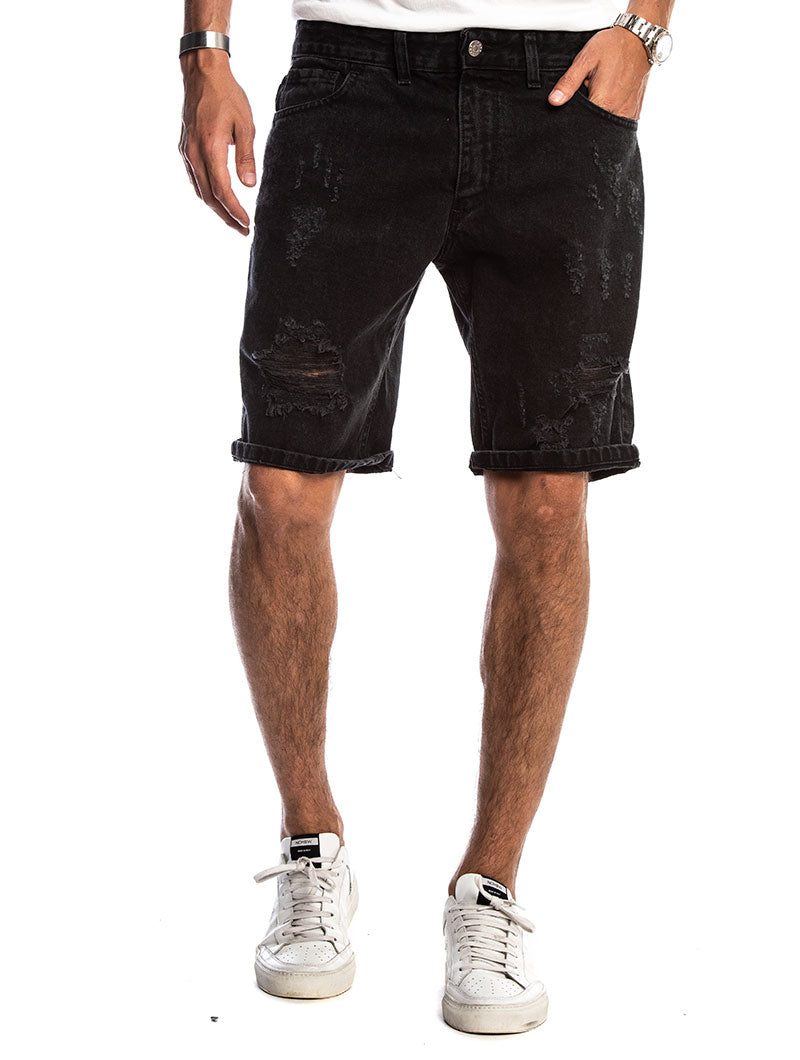 KAUI RIPPED SHORTS IN BLACK