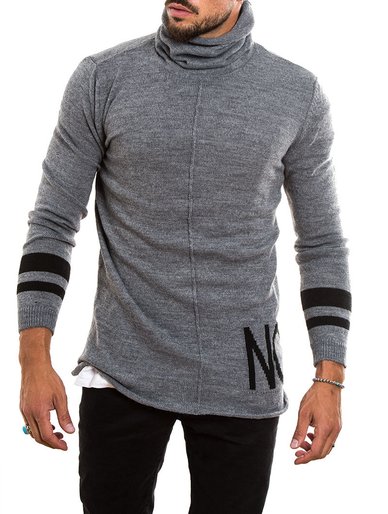 MEN'S CLOTHING | ROLL NECK KNITTED JUMPER IN GREY | MUSCLE FIT | NOHOW