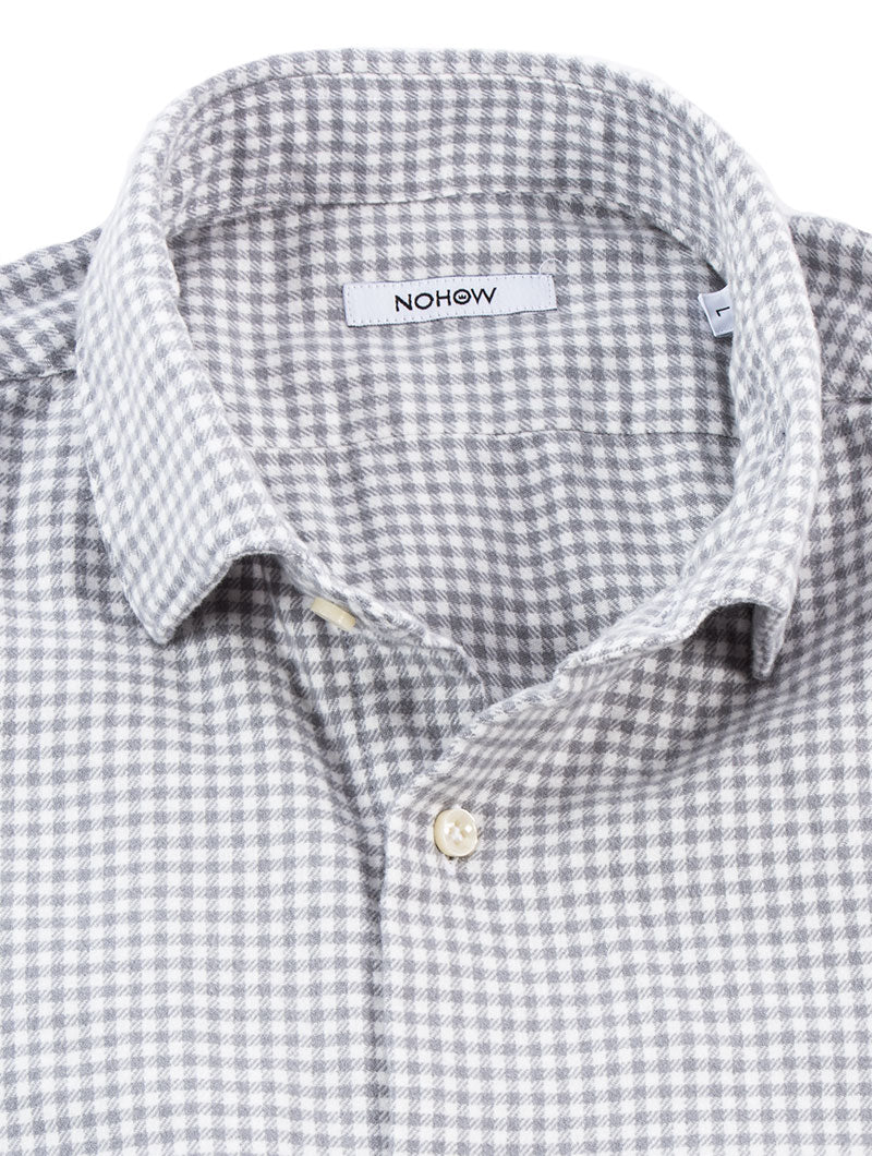 MEN'S CLOTHING | ALFRED FLANNEL SHIRT | GINGHAM CHECK | GREY | NOHOW