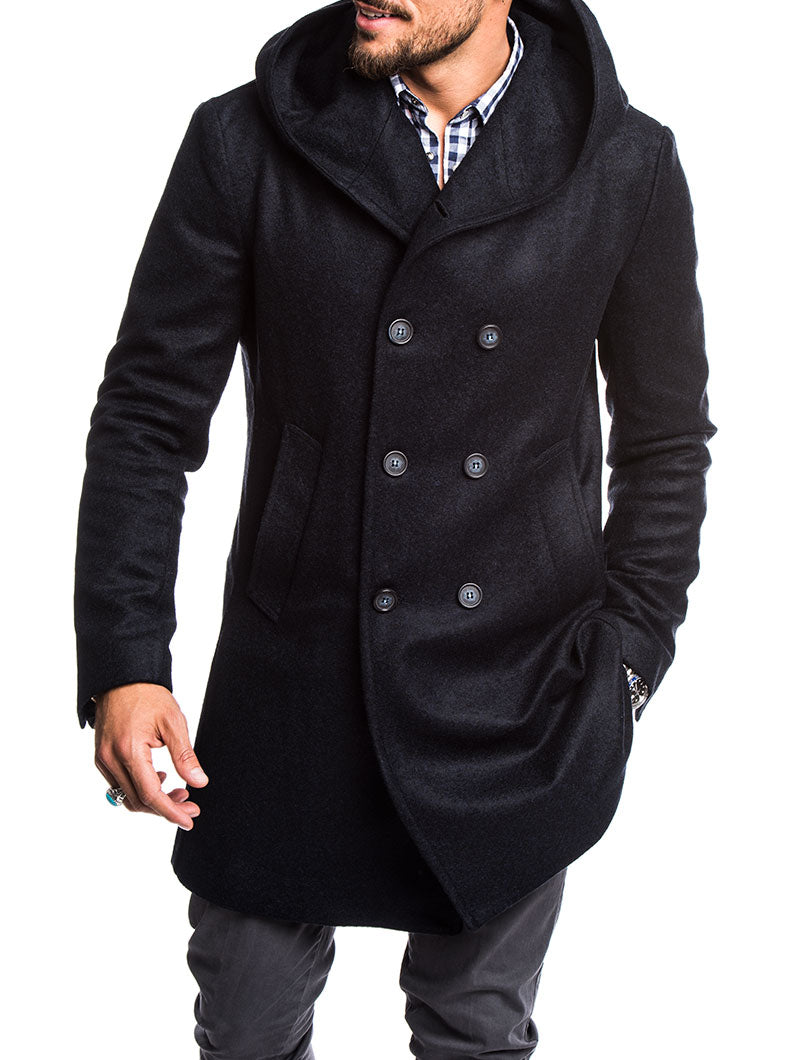 MEN'S CLOTHING | HOODED PEACOAT IN BLUE | WOOL-MIX | NOHOW STREET COUTURE