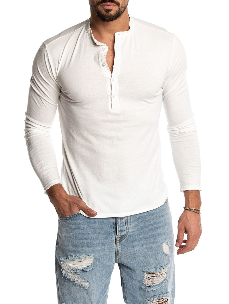 c30fd02a Henley t-shirt for Men in White – Nohow Style