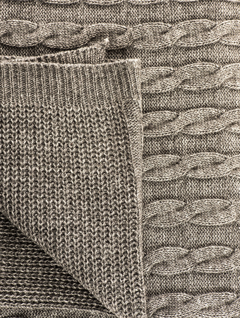 CABLE KNIT BLANKET IN GREY
