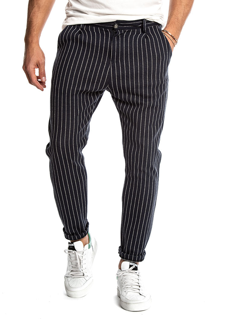 ANUBIS COTTON TROUSERS IN STRIPED BLUE AND WHITE