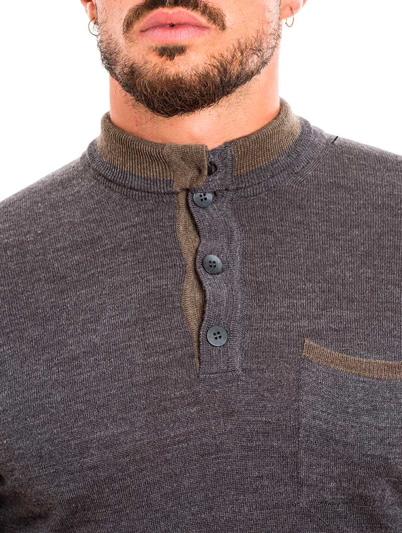 MEN'S CLOTHING | FUNNEL NECK SWEATER IN GREY | MUSCLE FIT | NOHOW STREET COUTURE