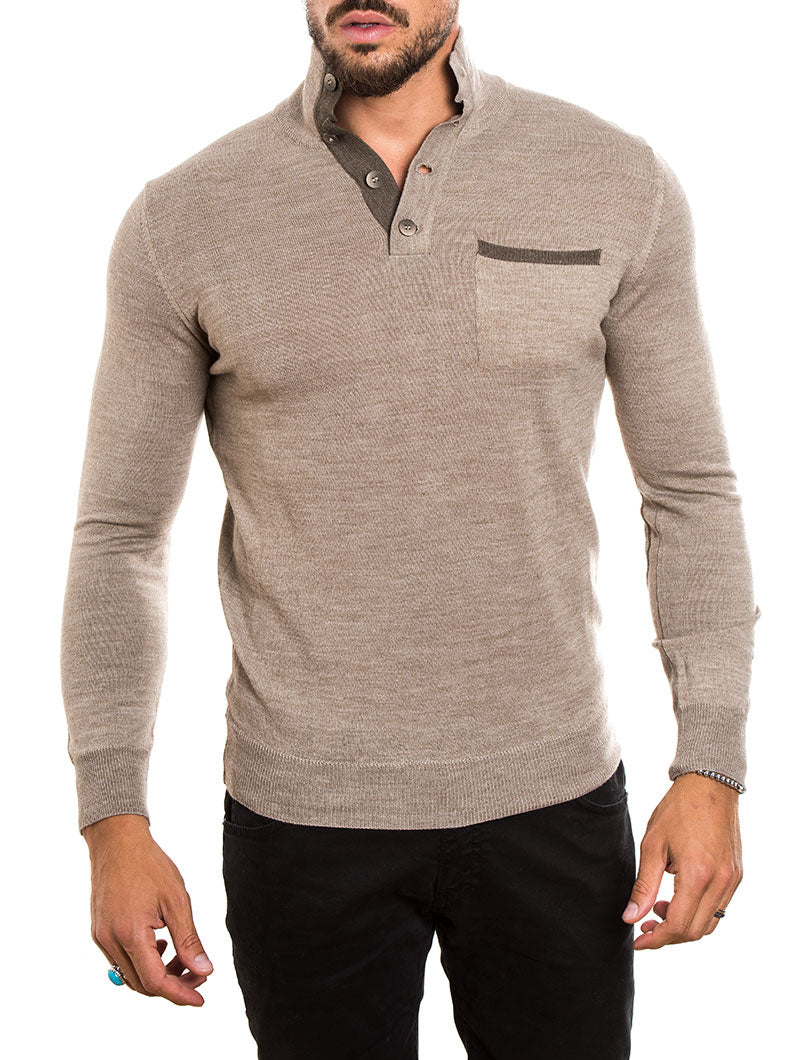 MEN'S CLOTHING | FUNNEL NECK SWEATER IN BEIGE | MUSCLE FIT | NOHOW STREET COUTURE
