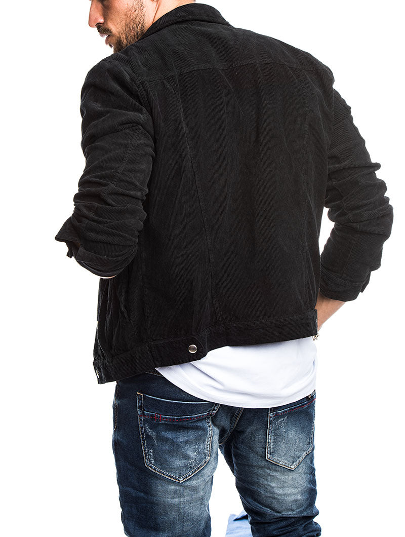 TRUCKER VELVET JACKET IN BLACK