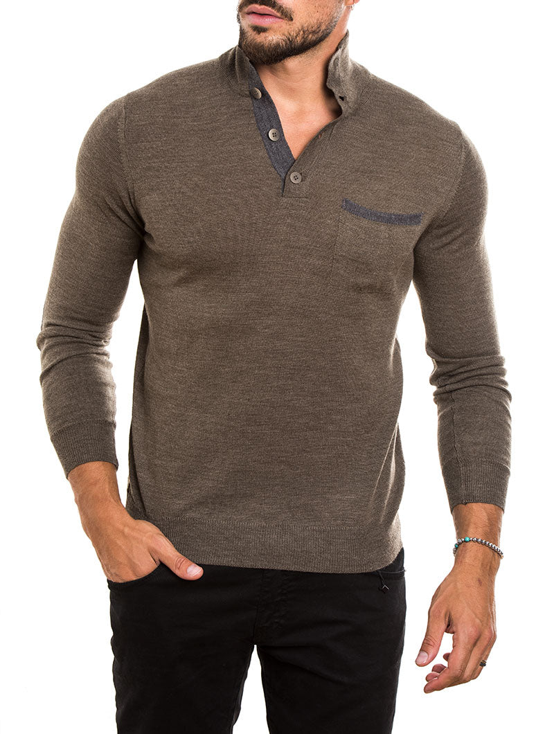 MEN'S CLOTHING | FUNNEL NECK SWEATER IN BROWN | MUSCLE FIT | NOHOW STREET COUTURE