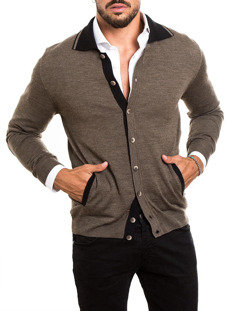 MEN'S CLOTHING | KNITTED CARDIGAN IN BROWN | MUSCLE FIT | NOHOW STREET COUTURE | NOHOW