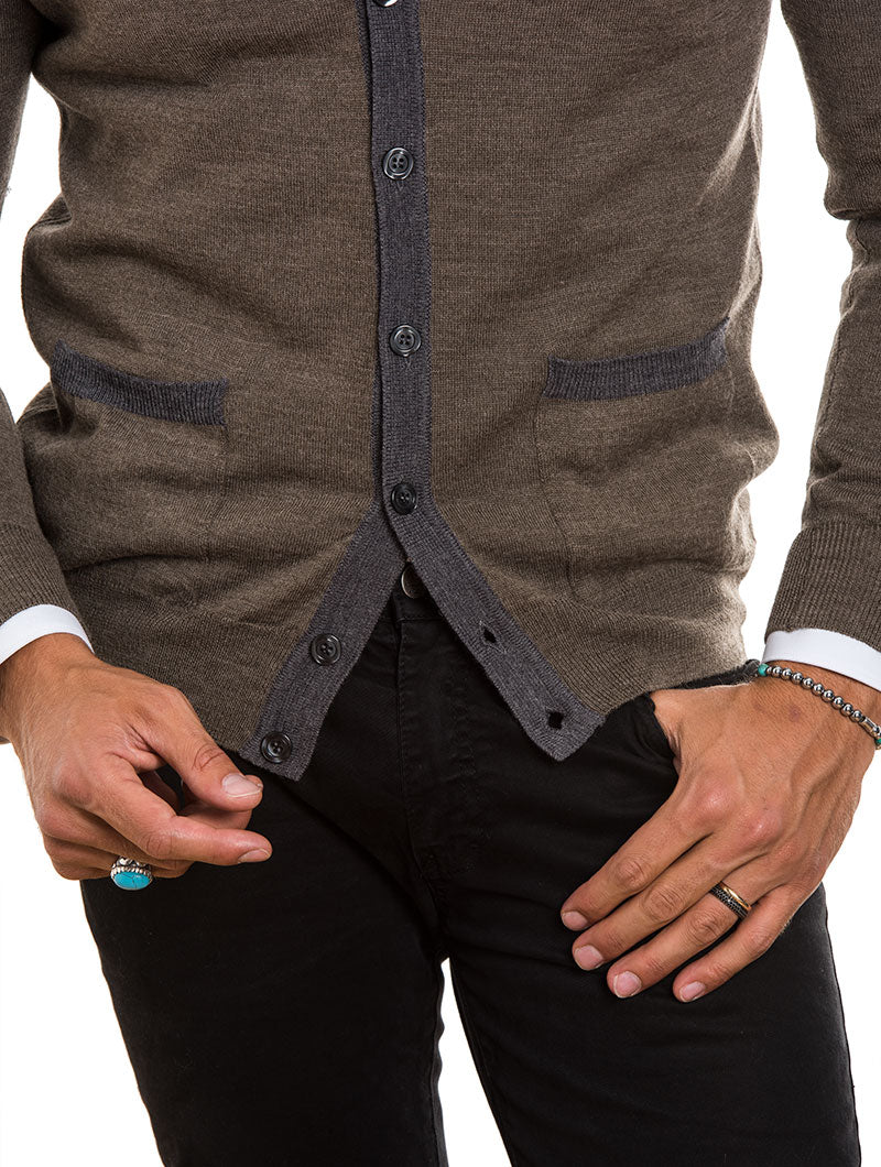 MEN'S CLOTHING | ELBOW PATCH WOOL BUTTON CARDIGAN IN BROWN | MUSCLE FIT | POCKETS | NOHOW STREET COUTURE