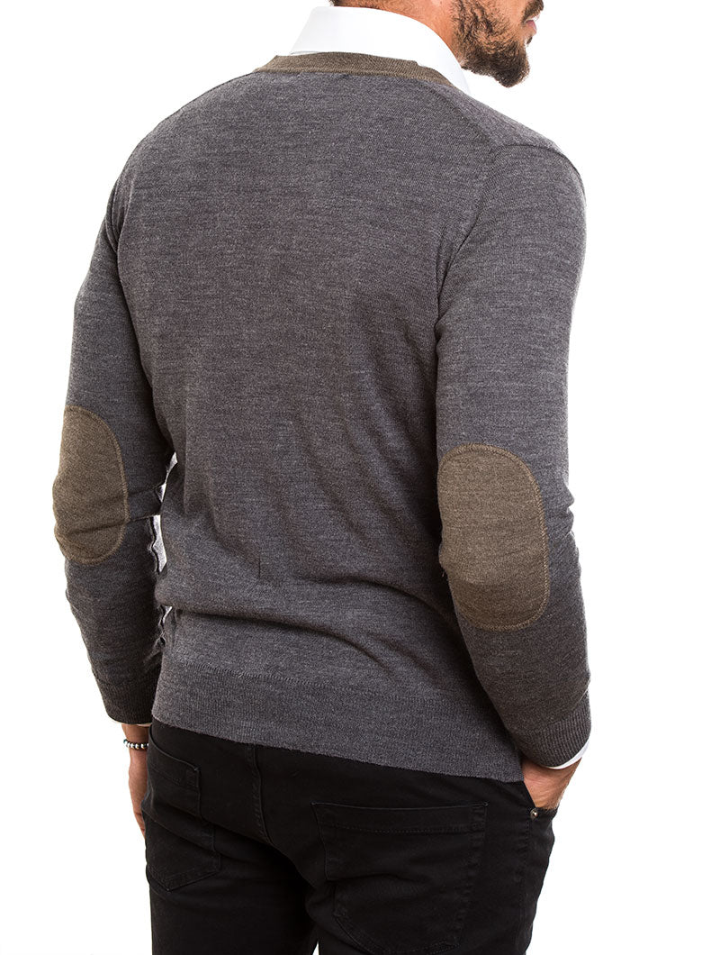 MEN'S CLOTHING | ELBOW PATCH WOOL BUTTON CARDIGAN IN GREY | MUSCLE FIT | POCKETS | NOHOW STREET COUTURE