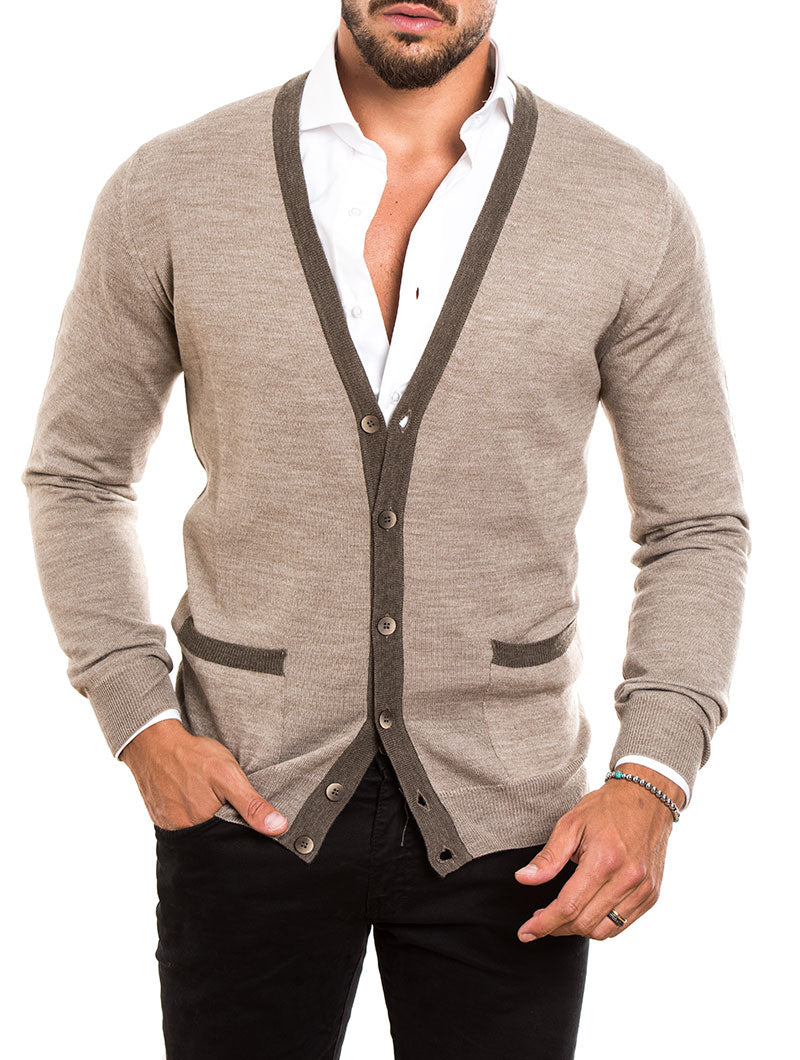MEN'S CLOTHING | ELBOW PATCH WOOL BUTTON CARDIGAN IN BEIGE | MUSCLE FIT | POCKETS | NOHOW STREET COUTURE