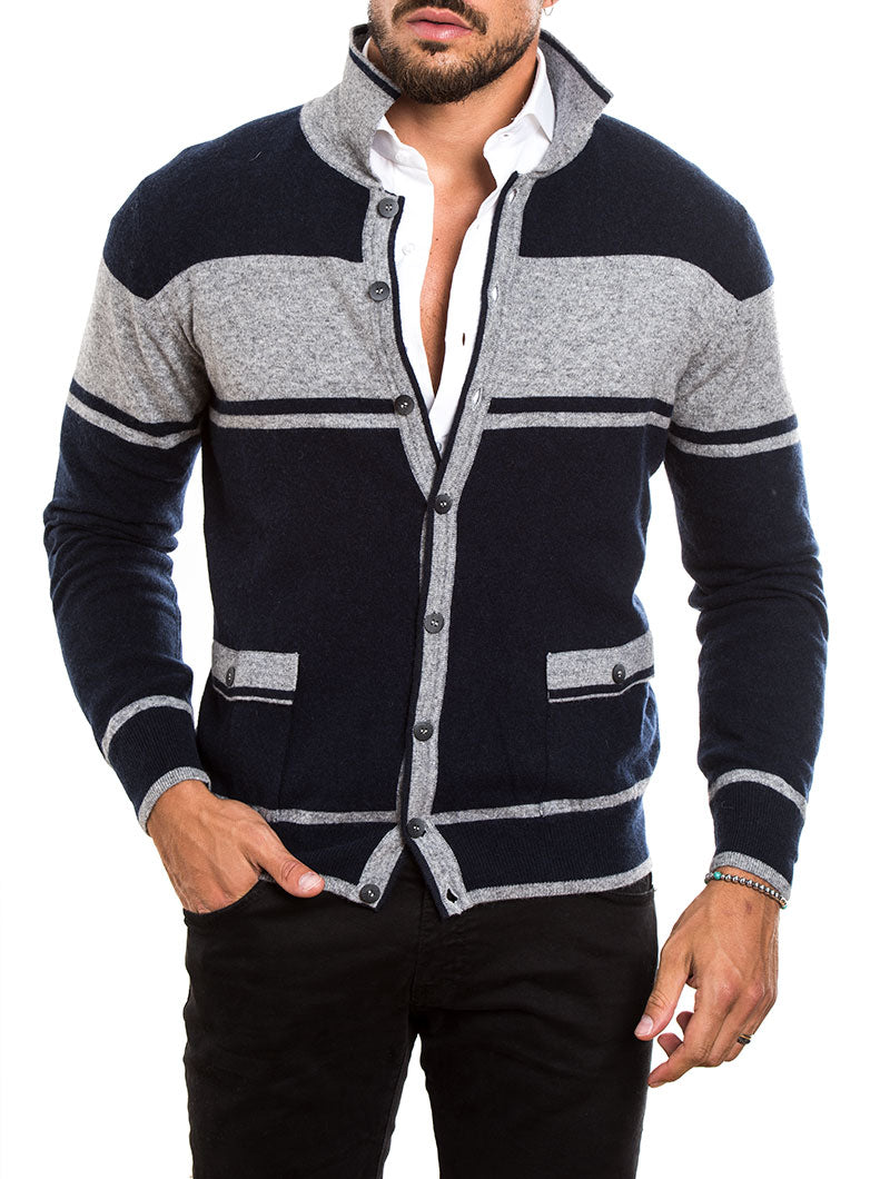 MEN'S CLOTHING | TONAL BLOCK STRIPE CARDIGAN IN NAVY | NOHOW STREET COUTURE | NOHOW