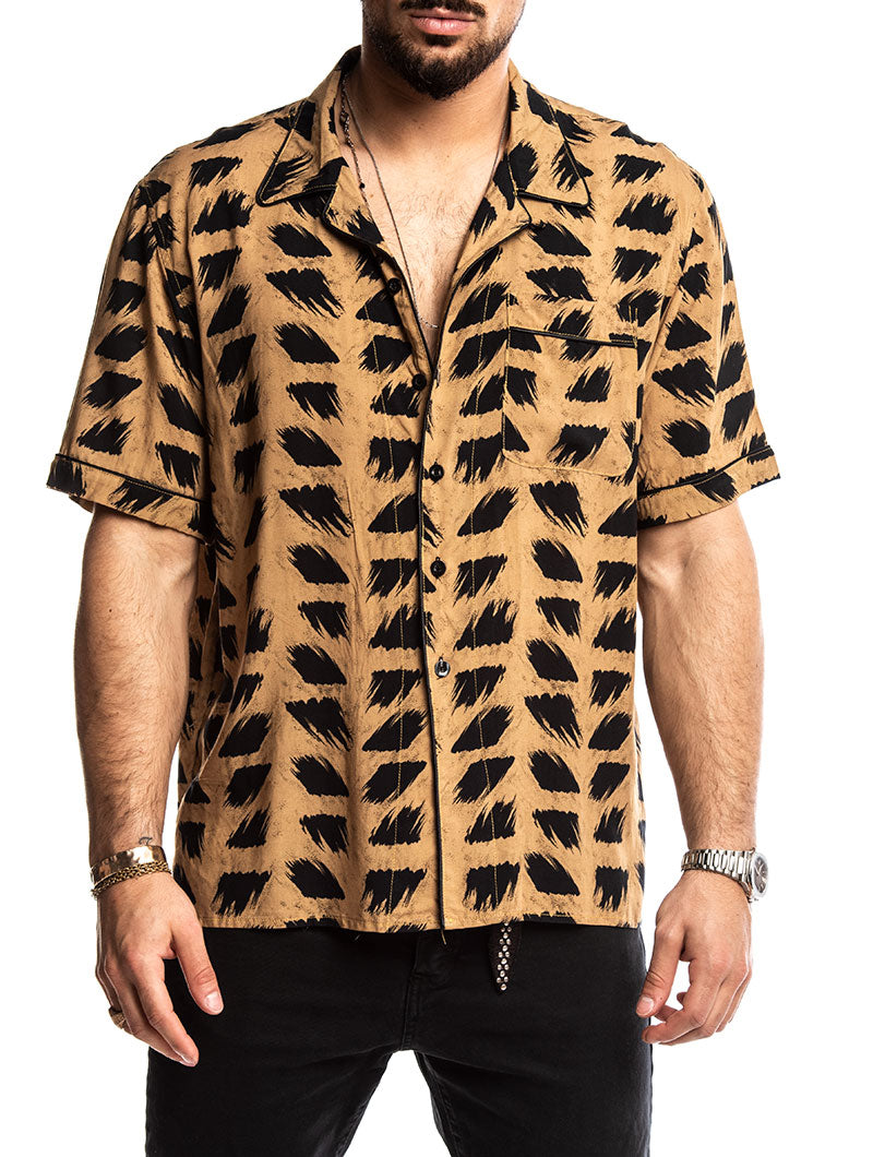 EROS SHORT SLEEVED SHIRT IN CAMEL