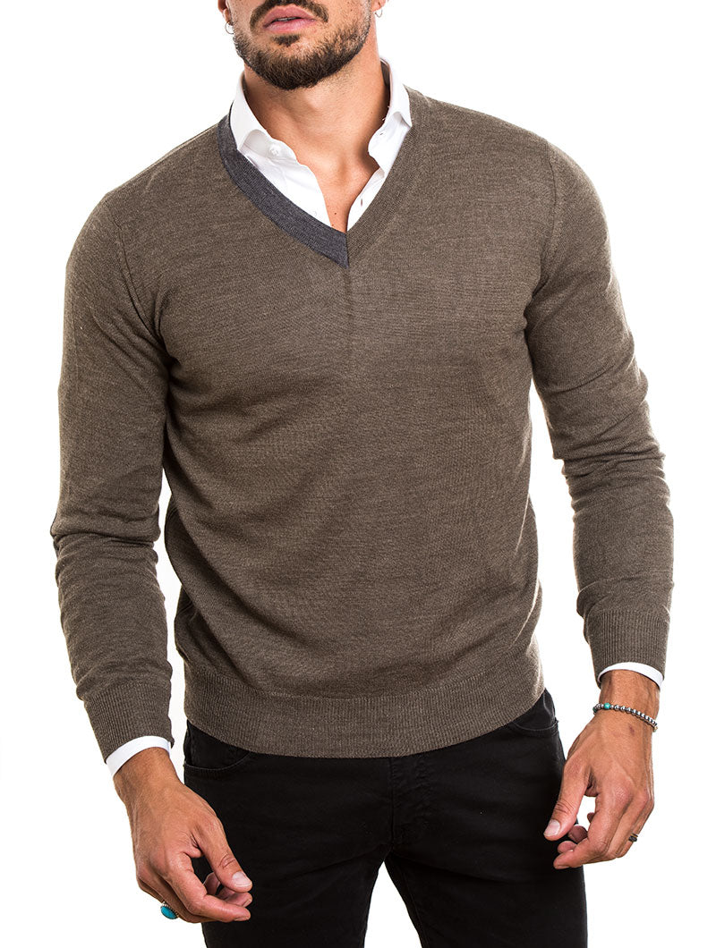 MEN'S CLOTHING | V-NECK SWEATER IN BROWN | MUSCLE FIT | NOHOW STREET COUTURE | NOHOW