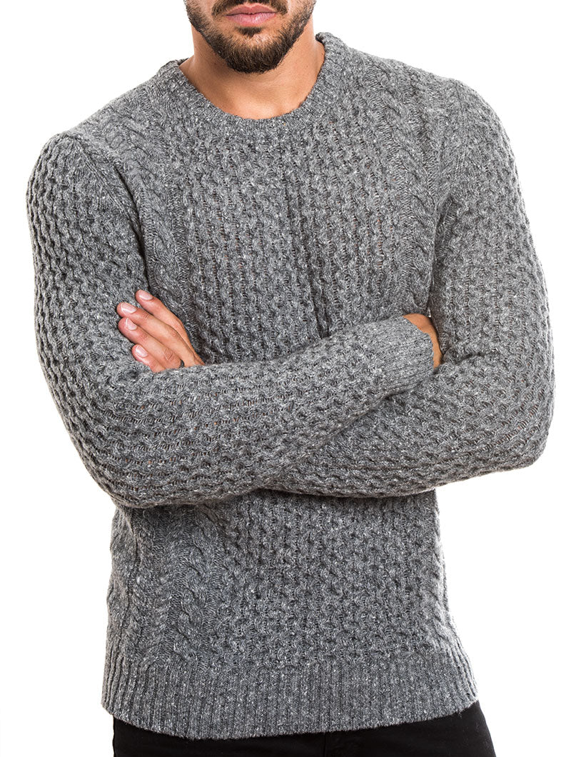 MEN'S CLOTHING | CABLE KNIT SWEATER IN GREY | NOHOW – Nohow Style
