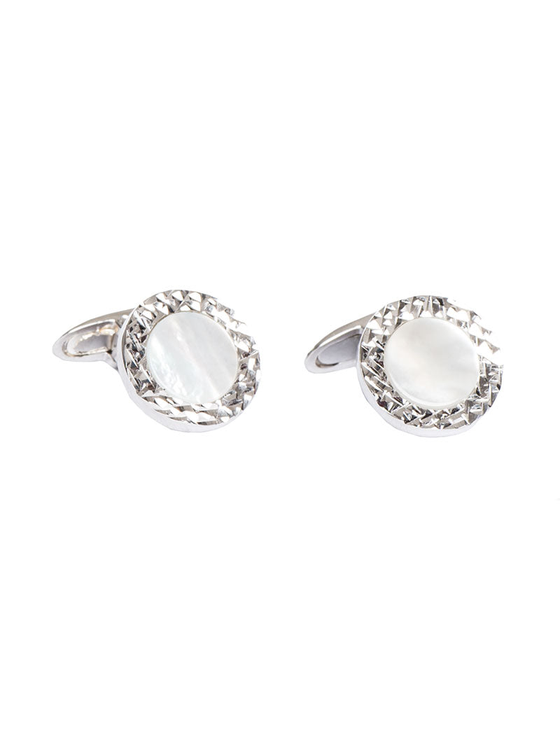 ACCESSORIES | ROUND MOTHER OF PEARL SILVER CUFFLINKS | NOHOW STREET COUTURE