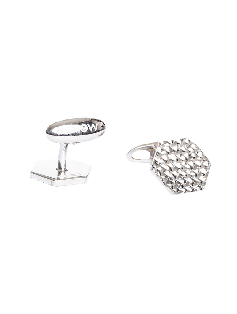 ACCESSORIES | TEXTURED SILVER CUFFLINKS | NOHOW STREET COUTURE