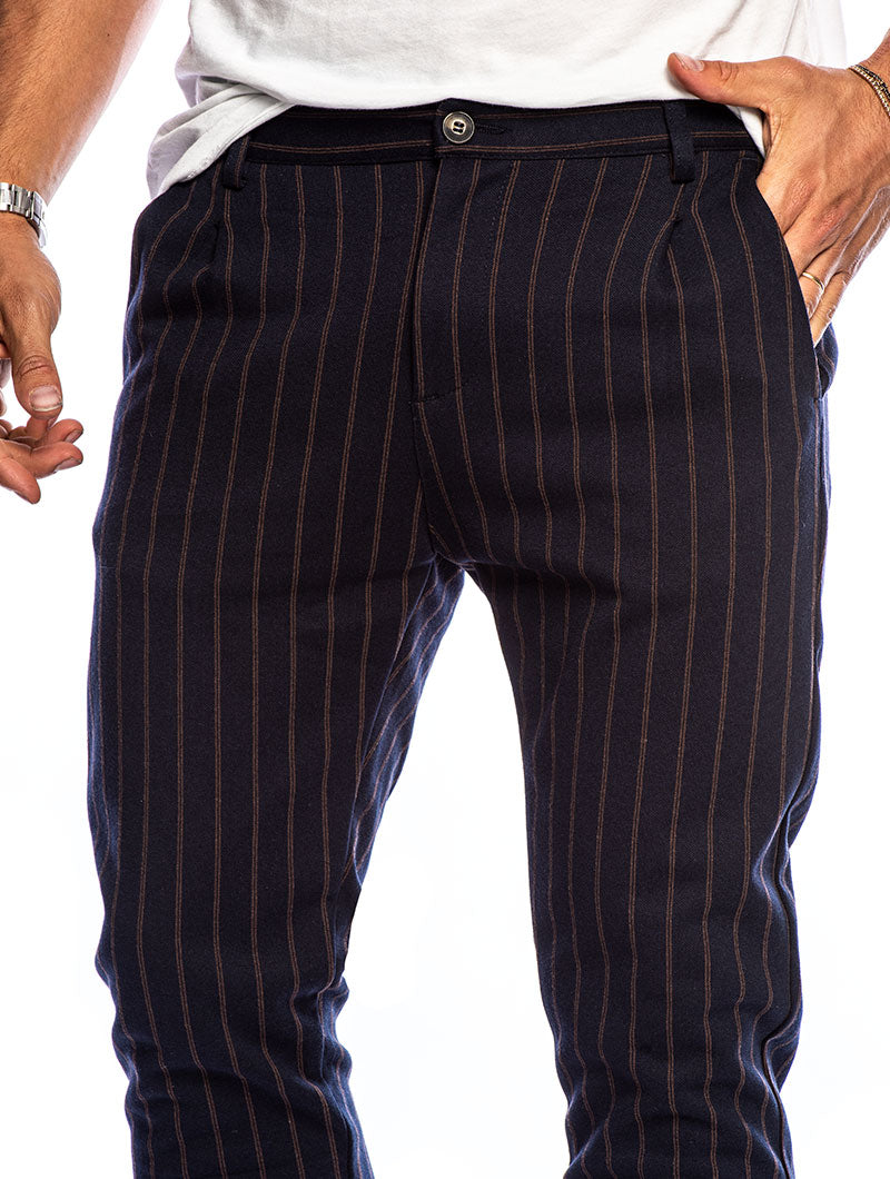 ANUBIS COTTON TROUSER IN BLUE AND BROWN