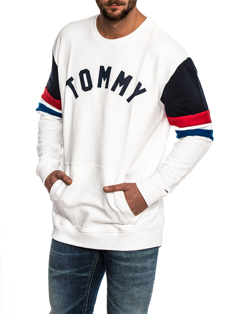 COLOR BLOCK CREW SWEATSHIRT IN WHITE