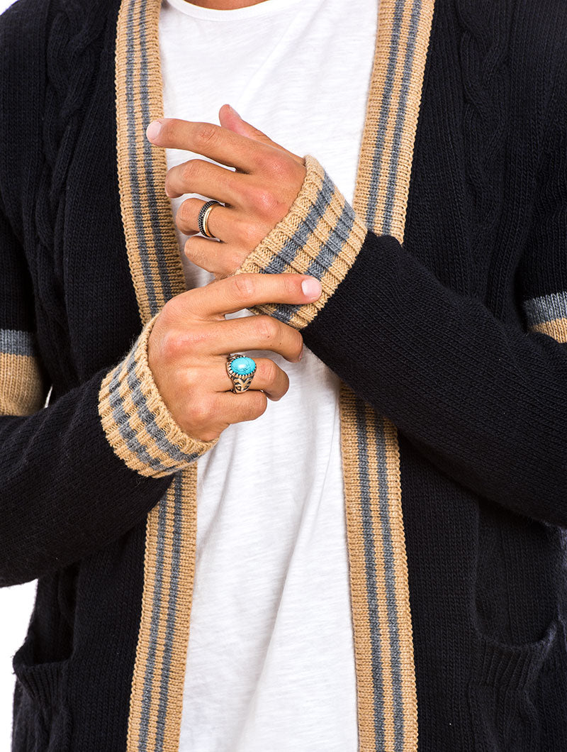 MEN'S CLOTHING | CABLE KNIT CARDIGAN IN BLUE | NAVY | MUSCLE FIT | NOHOW STREET COUTURE | NOHOW