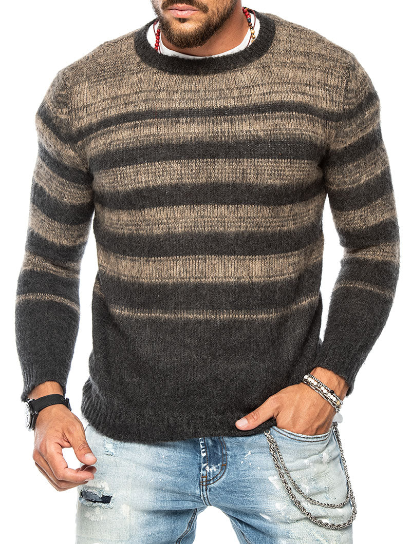 MACUMBA STRIPED SWEATER IN ANTHRACITE AND CAMEL