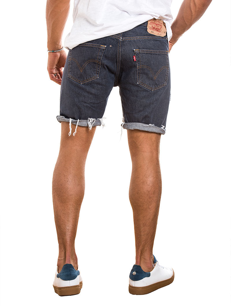 MEN'S CLOTHING | VINTAGE LEVI'S 501 DISTRESSED SHORTS | DARK BLUE WASH | LEVI'S | NOHOW