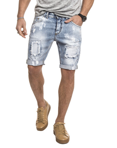 MEN'S CLOTHING | LIGHT BLUE VINTAGE SHORTS | MEN'S SHORTS | LIGHT BLUE | DISTRESSED | RIPPED | KNEE LENGTH | FIVE POCKET | NOHOW SUMMER COLLECTION | NOHOW