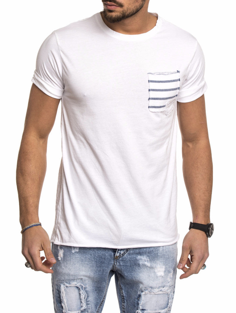 WHITE-BLUE STRIPED BREAST POCKET T-SHIRT