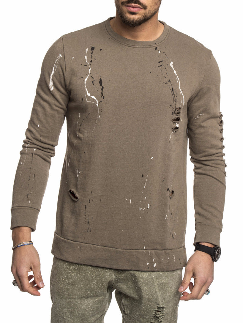 MEN'S CLOTHING | ARMY GREEN SPLASH SWEATSHIRT | DISTRESSED SWEATSHIRT | CREW NECK | LONLINE CUT | NOHOW STREETWEAR COLLECTION | NOHOW
