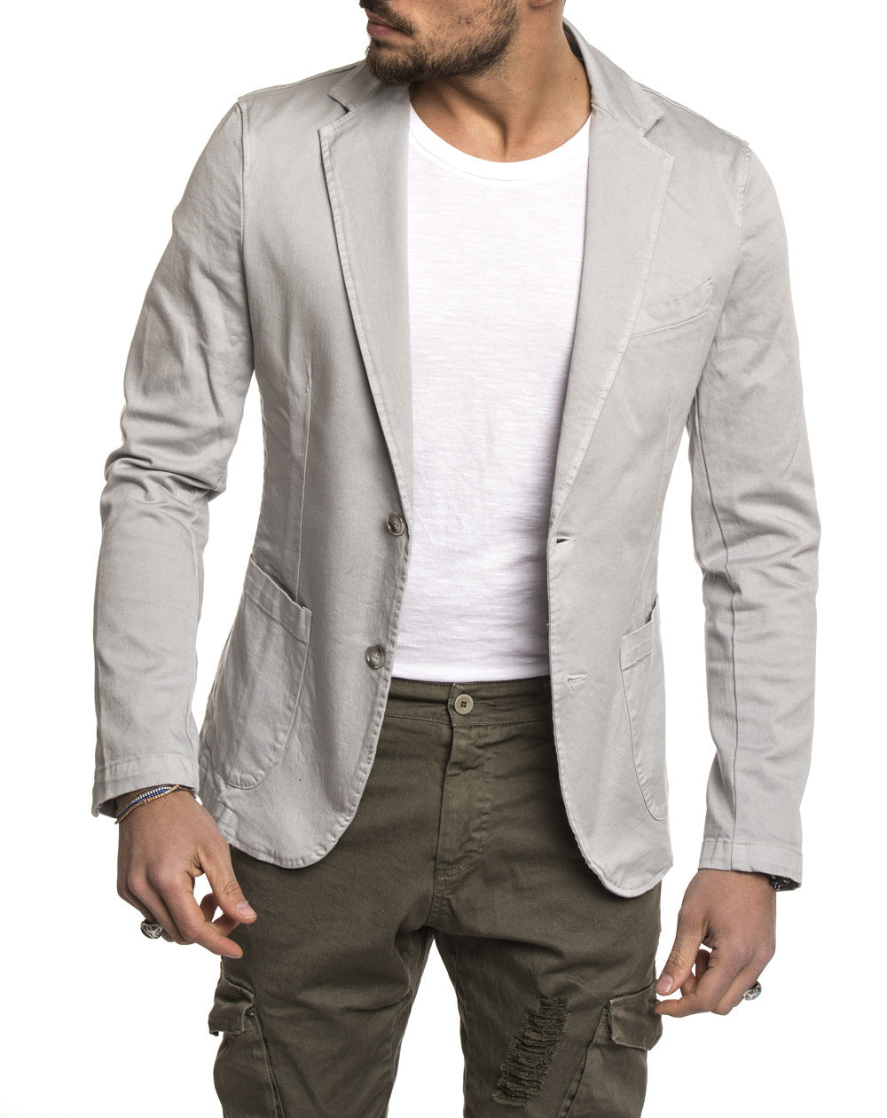 LIGHT GREY POCKET BLAZER