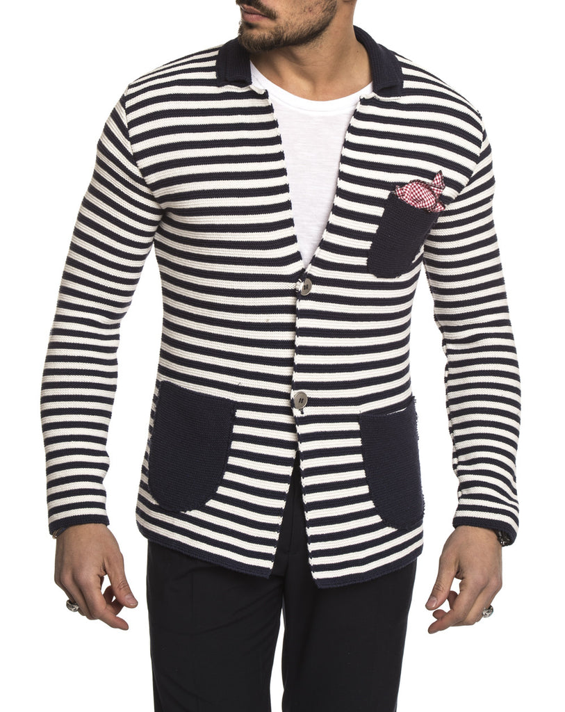 MEN'S CLOTHING | BLUE WHITE STRIPED BLAZER | COTTON KNIT | SLIM FIT | V2
